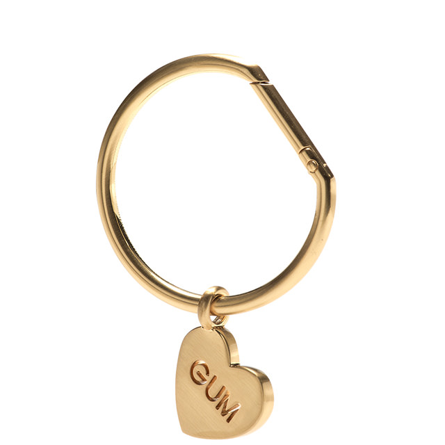 GUM CHARM KEY RING WITH HEART PENDANT