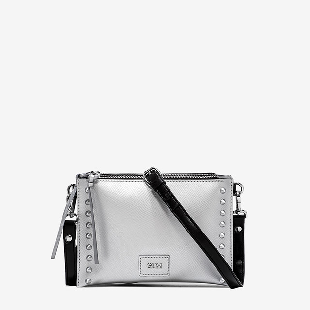 GUM: MEDIUM SIZE SATIN STUD CLUTCH BAG